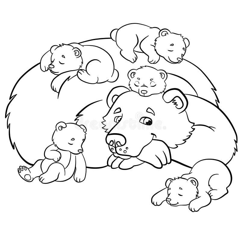 Kleurende pagina's Wilde dieren Vriendelijk draag royalty-vrije illustratie