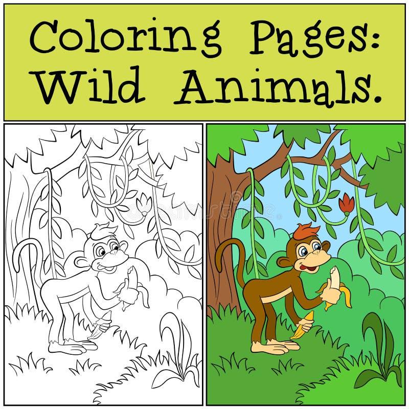 Kleurende Pagina's: Wilde dieren Weinig leuke aap vector illustratie