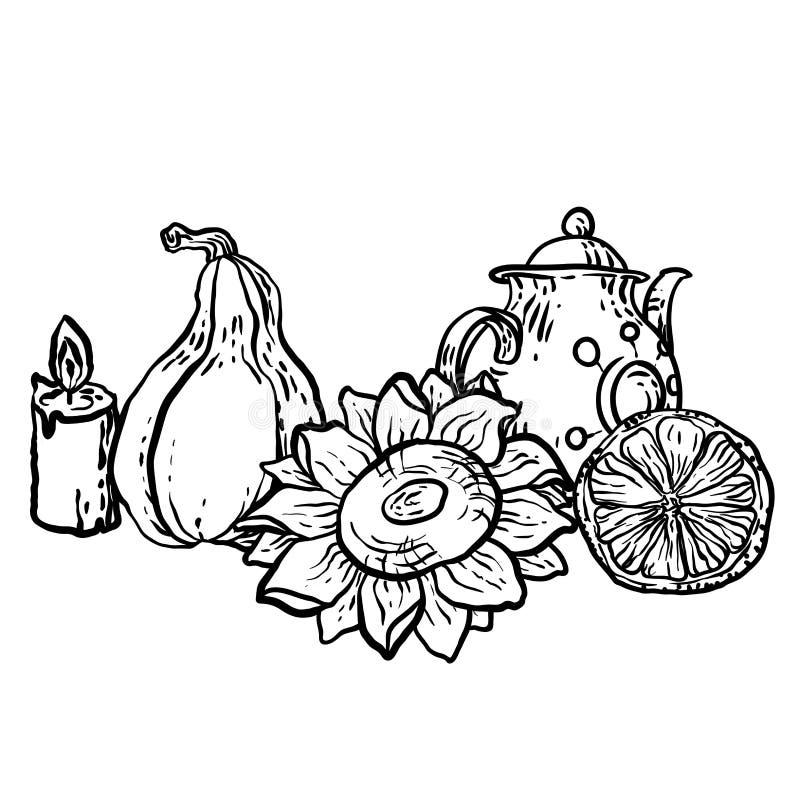 Kleurende pagina in vector met de elementen van de huishoudenherfst stock illustratie
