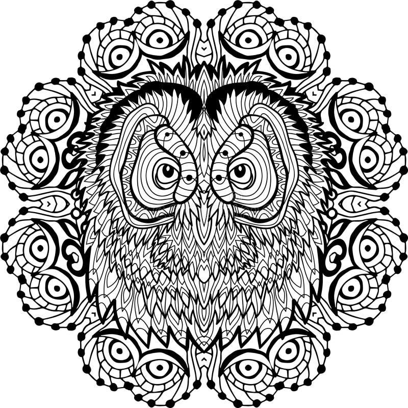 Kleurende pagina voor volwassenen Uil` s hoofd in het ronde patroon Lijnart. stock illustratie
