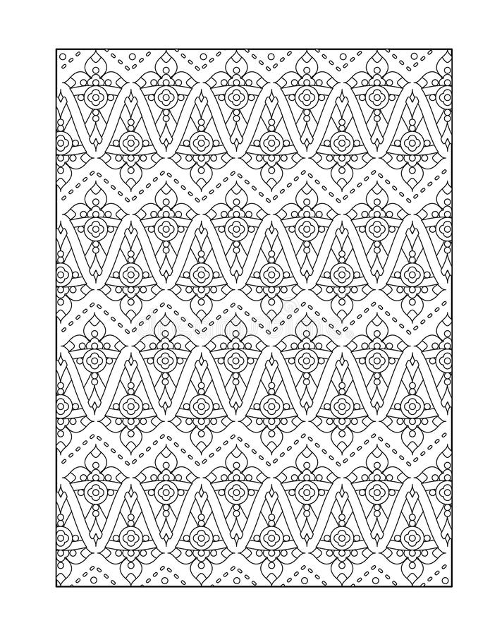 Kleurende pagina voor volwassenen, of zwart-witte sierachtergrond royalty-vrije illustratie