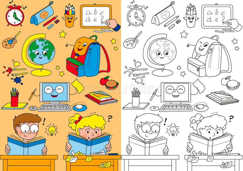 Kleurende Schoolelementen Voor Kleine Jonge Geitjes Royalty-vrije Stock Afbeeldingen