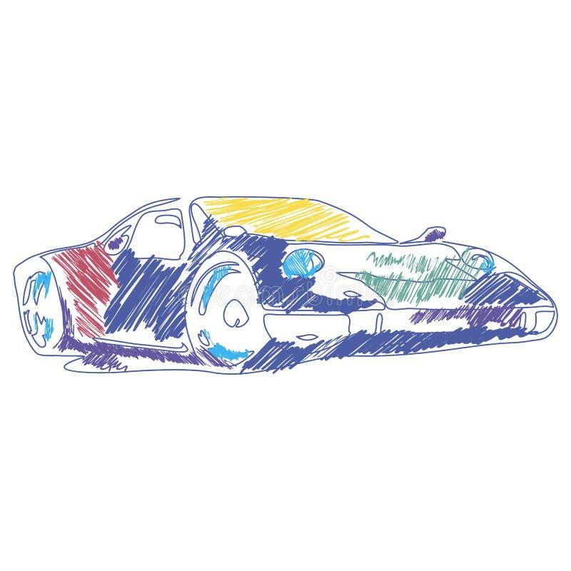 Kleurende sportwagentekening met vector Kinderen` s tekening Perfectioneer voor jonge geitjes royalty-vrije illustratie