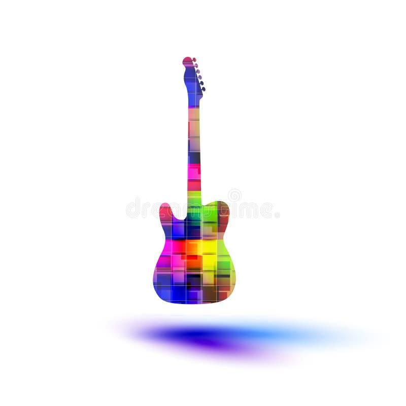 Kleurengitaar, grunge muziek stock illustratie
