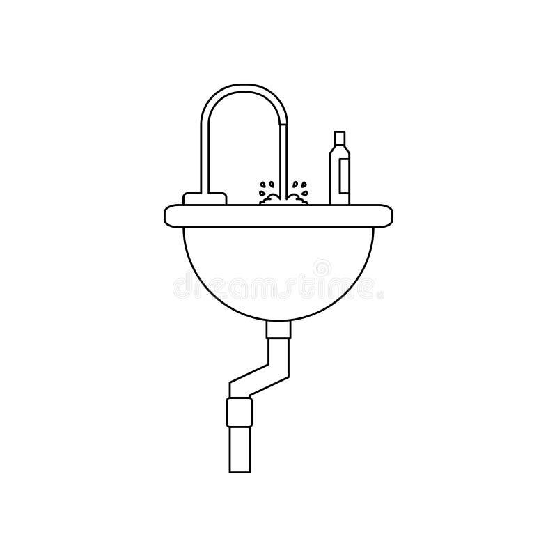 kleurengootsteen in het badkamerspictogram Element van bouwhulpmiddelen voor mobiel concept en webtoepassingenpictogram Overzicht royalty-vrije illustratie