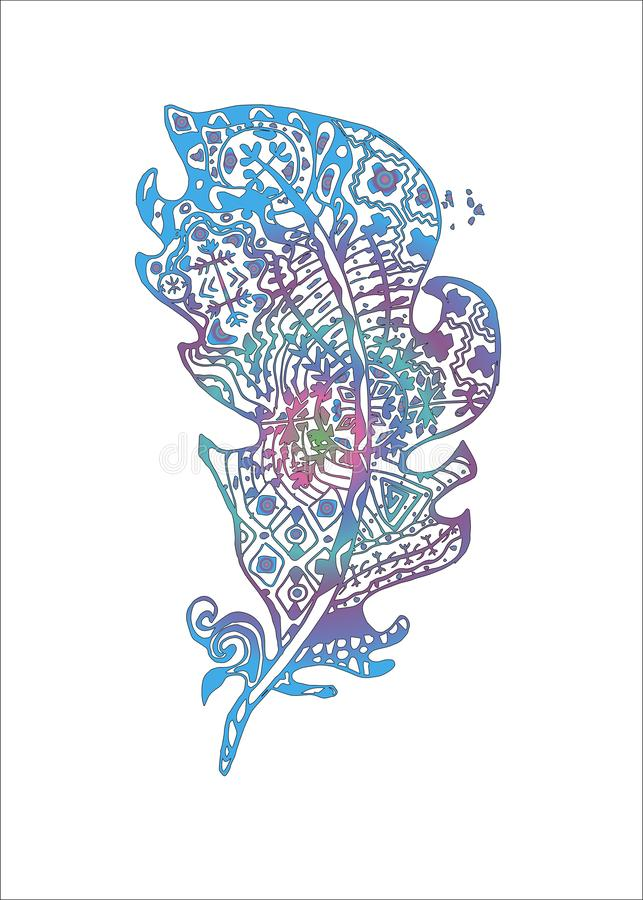 Kleurenillustratie met gestileerde veren met krabbelpatronen stock illustratie