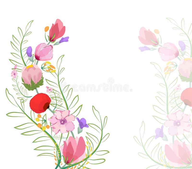 Kleurenillustratie van bloemen in waterverfschilderijen royalty-vrije illustratie