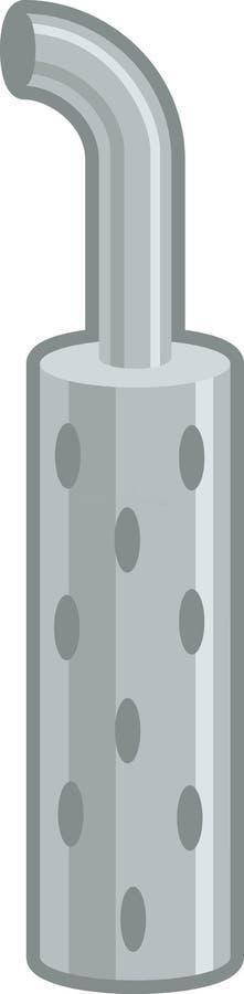 Kleurenillustratie van de gladde, met chroom verchrode uitlaatklep van grote vrachtwagens vector illustratie