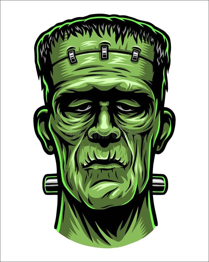 Kleurenillustratie van Frankenstein-hoofd royalty-vrije stock foto's