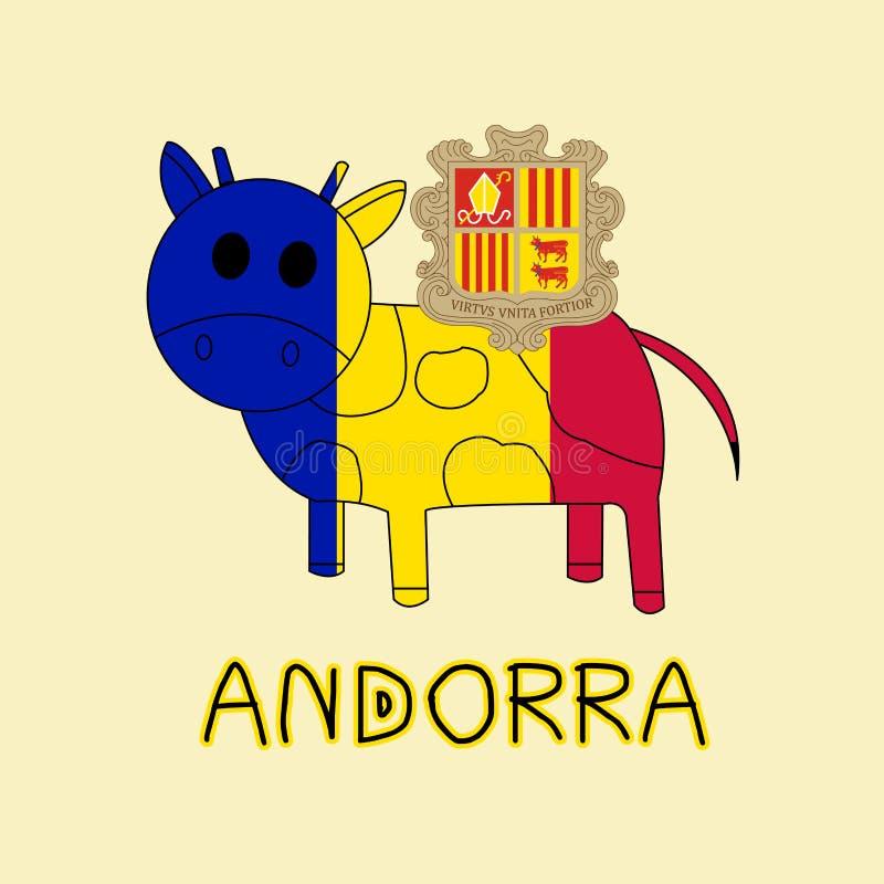 Kleurenimitatie van de Vlag van Andorra met Koe, Nationaal Dier royalty-vrije illustratie