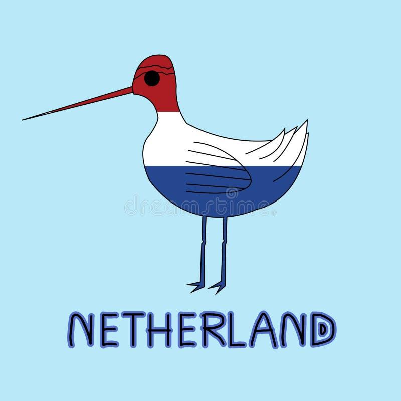 Kleurenimitatie van Netherland-Vlag met Grutto Met zwarte staart, Nationaal Dier stock illustratie