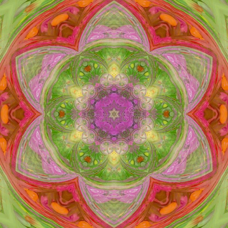 Kleurenkaart met mandala Geometrische elegante mandala van het cirkelelement in de groene en rode effect lente of de zomerzon vector illustratie
