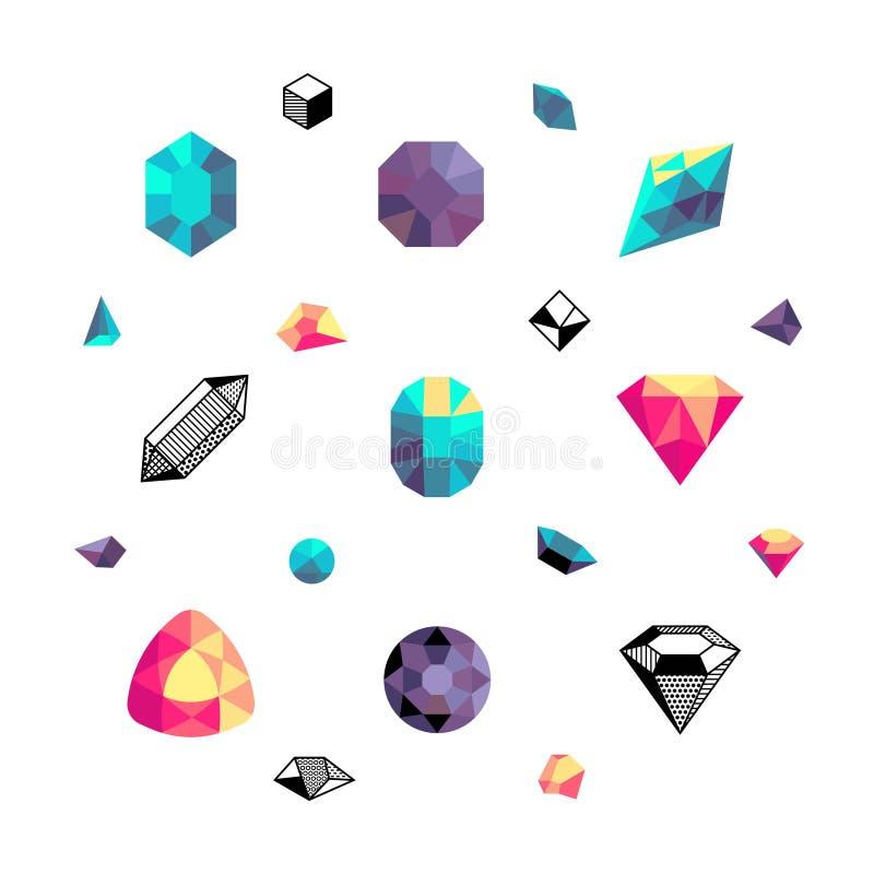 Kleurenkristallen, diamantvormen, de vectorreeks van veelhoekstenen vector illustratie