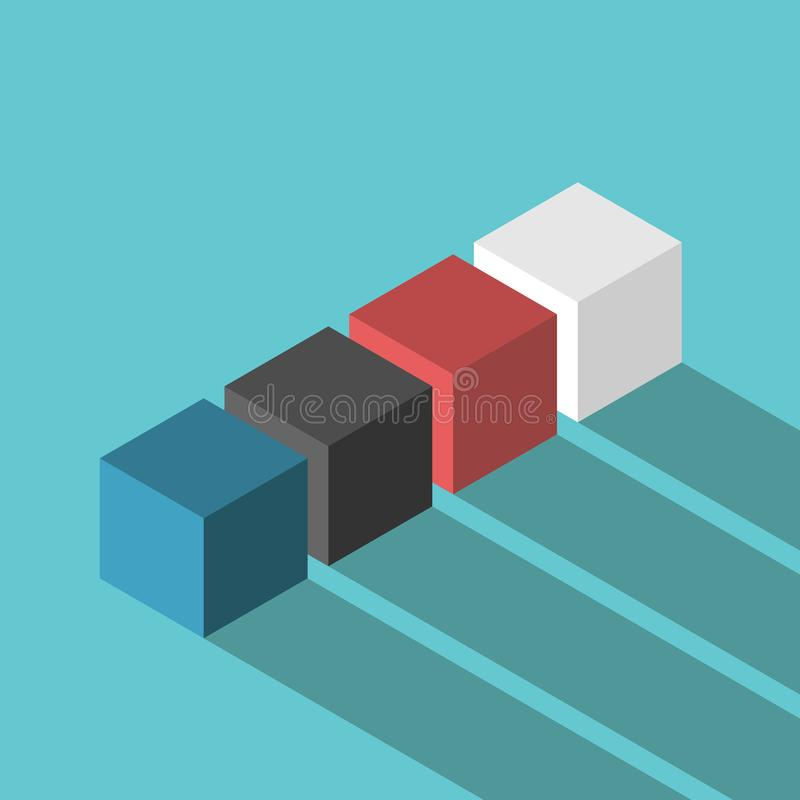 Kleurenkubussen, verscheidenheidsconcept stock illustratie
