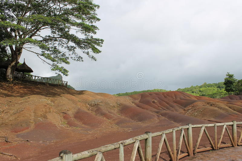 7 kleurenland van Chamarel, Mauritius royalty-vrije stock foto