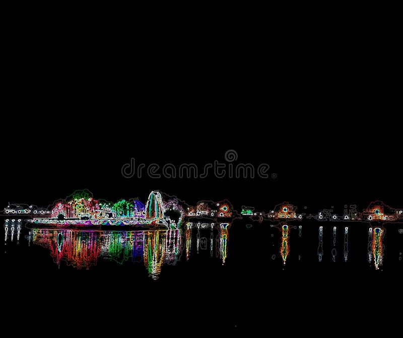 Kleurenlicht in donkere nacht stock afbeelding
