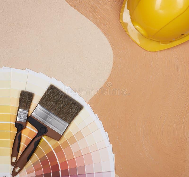 Kleurenmonsters, het schilderen toebehoren stock foto's