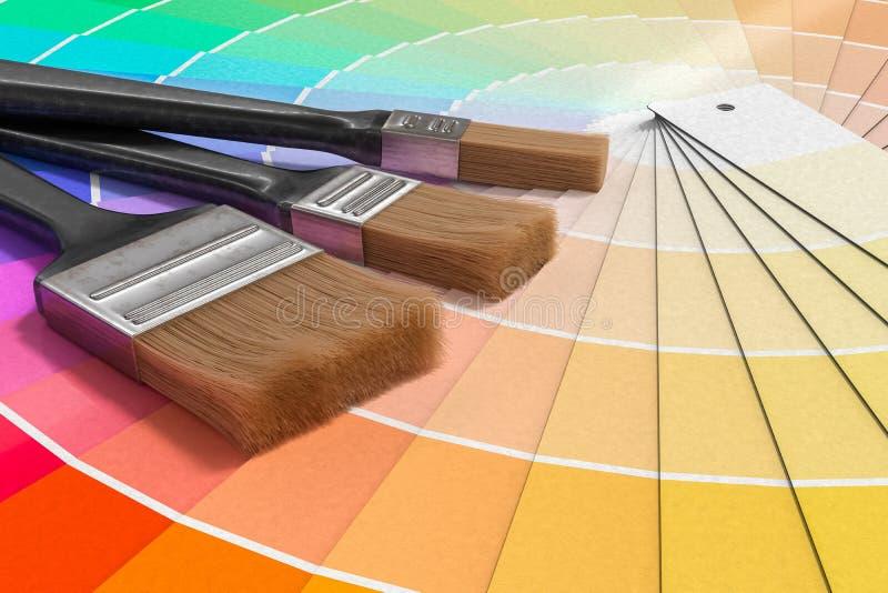 Kleurenpalet - gids van verfsteekproeven en het schilderen borstels 3D teruggegeven illustratie royalty-vrije illustratie