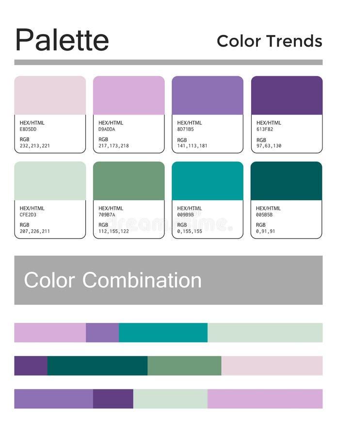 Kleurenpalet, harmonische combinatie, codes en namen Manierkleuren voor het gebruiken in Web, kleren, binnenland en textiel royalty-vrije illustratie
