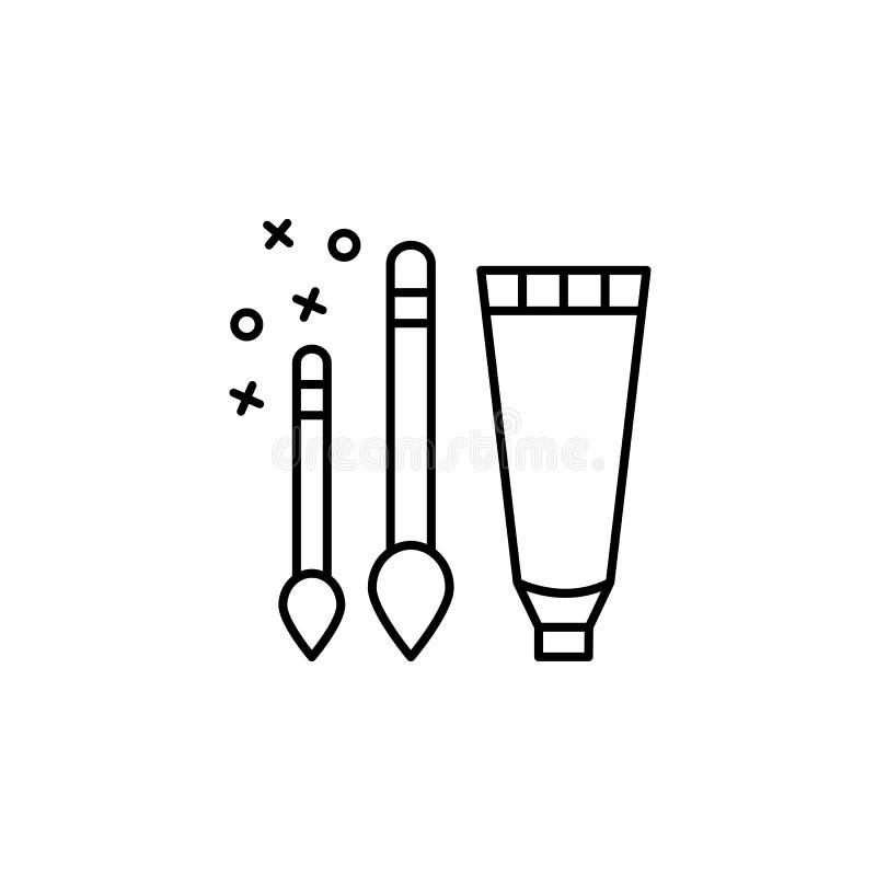 Kleurenpenseel, textiel, pictogram Element van het pictogram van de eigenschappen van de stof vector illustratie