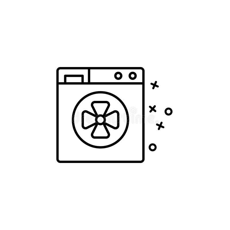 Kleurenpictogram voor wasdroger Element van het pictogram van de eigenschappen van de stof royalty-vrije illustratie