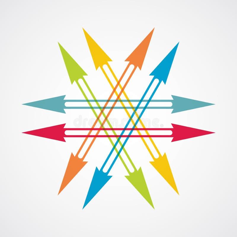 Kleurenpijlen, abstracte illustratie royalty-vrije illustratie