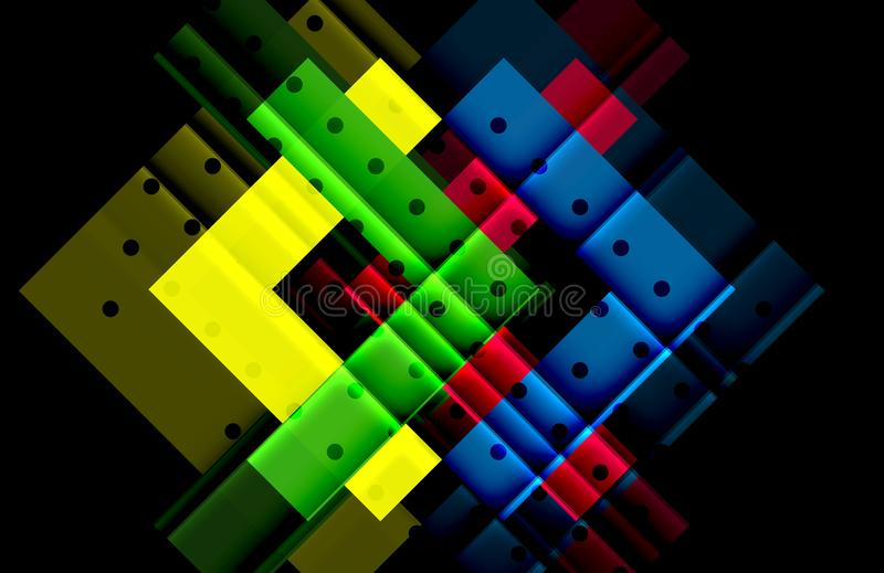 Kleurenpijlen op zwarte achtergrond stock illustratie