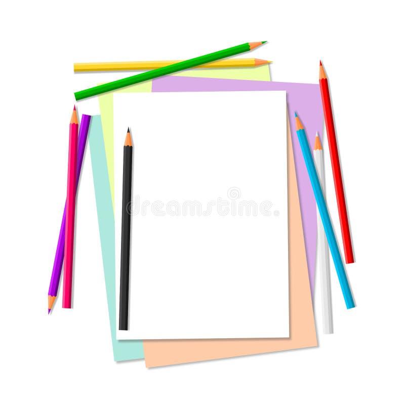 Kleurenpotloden en document stock illustratie
