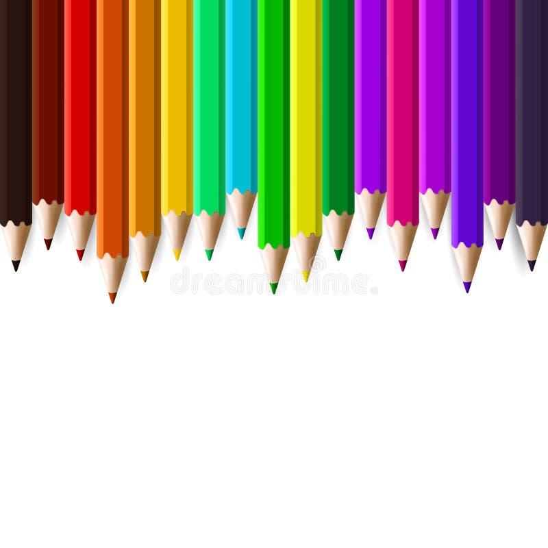 Kleurenpotloden op witte achtergrond worden geplaatst die stock afbeeldingen