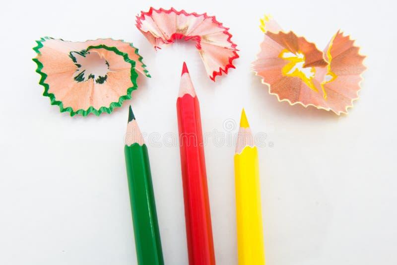 Kleurenpotlood en schaafsel stock afbeelding