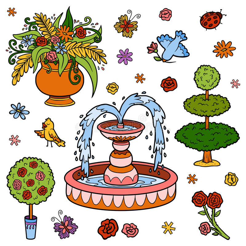 Kleurenreeks voorwerpen van de koninklijke tuin Vectorbeeldverhaalpunten royalty-vrije illustratie