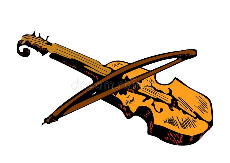 Kleurenschets van viool die op witte achtergrond, hand wordt geïsoleerd getrokken illustratie royalty-vrije illustratie