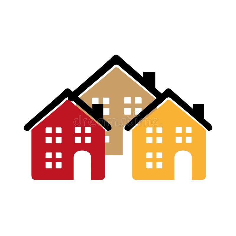 Kleurensilhouet met groep huizen stock illustratie