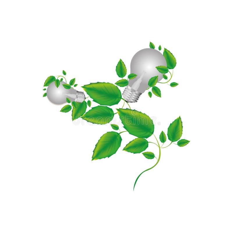 kleurensilhouet met twee gloeilampen en klimplantinstallatie stock illustratie