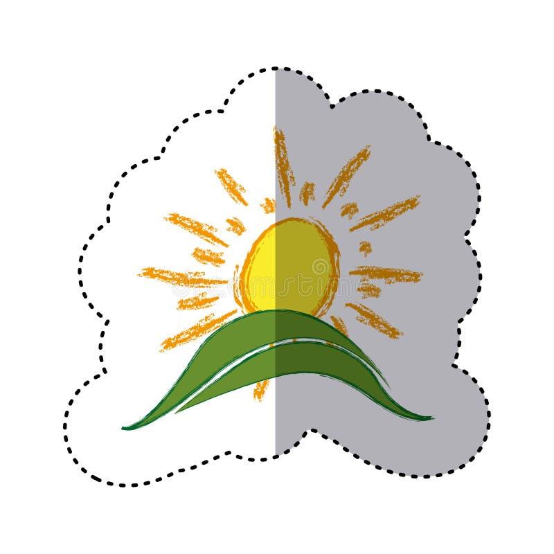 kleurensticker met hand getrokken zon over groene heuvel royalty-vrije illustratie