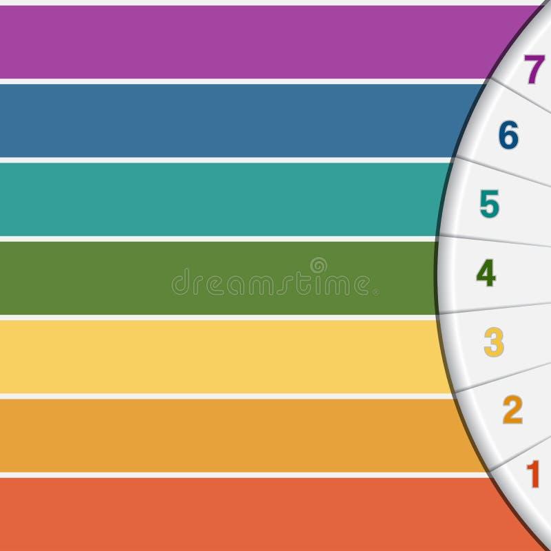 7 kleurenstroken en halve cirkel vector illustratie