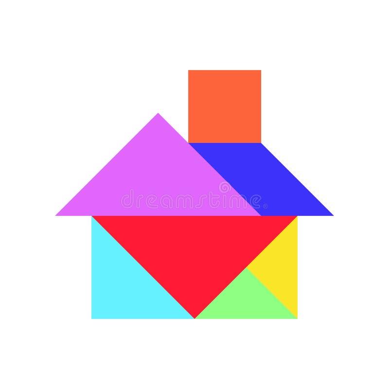 Kleurentangram raadsel in huisvorm op witte achtergrond royalty-vrije illustratie