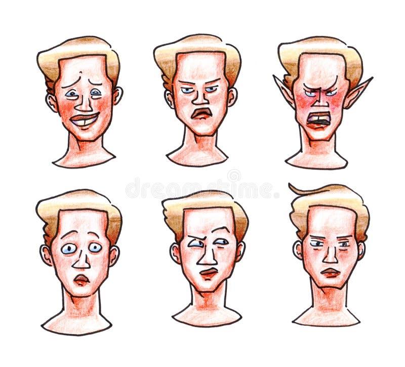 Kleurentekening met de hand van van de de onhandigheidswoede van de emoties blonde kerel de verrassingsonverschilligheid die op w royalty-vrije illustratie