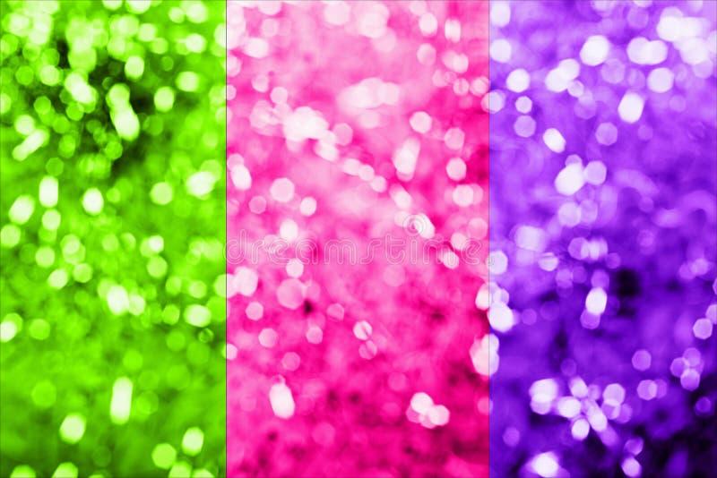 2019 Kleurentendens Een trio van helder neon-gekleurd roze plastiek, groene ufo, protonpurple, gestemde foto Abstracte Bokeh royalty-vrije stock afbeelding
