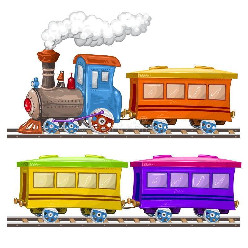 Kleurentreinen en wagens stock illustratie