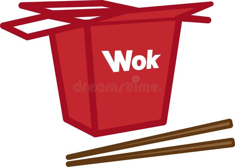 Kleurenvakpictogram met wok en eetstokjes stock fotografie