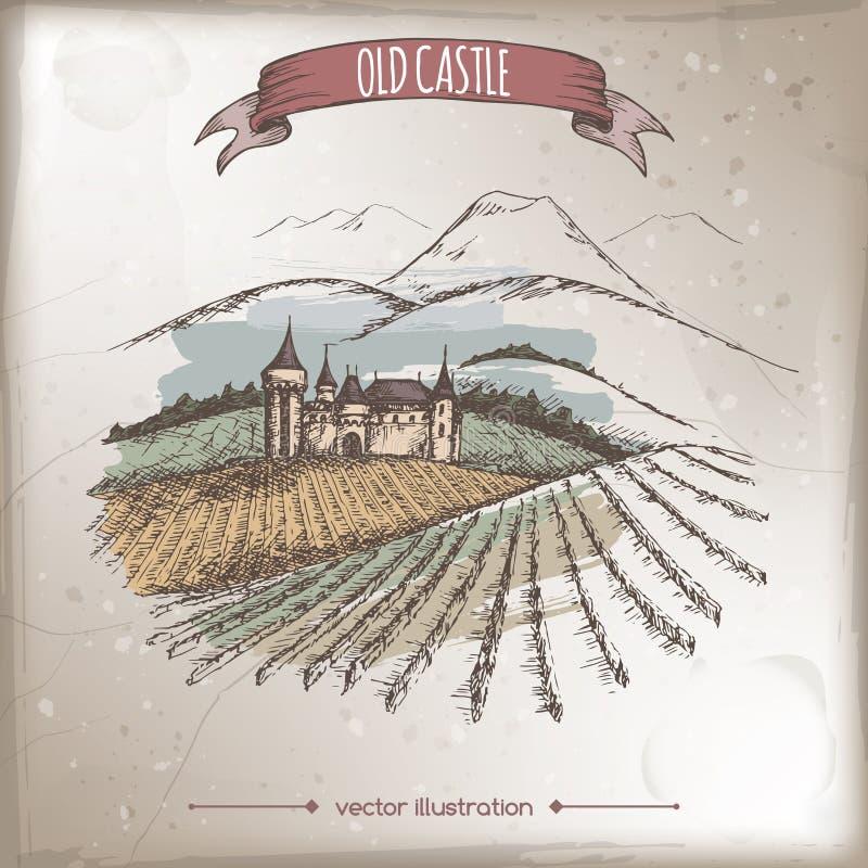 Kleurenwijngaard, kasteel, de vectorschets van het berglandschap op grungeachtergrond vector illustratie