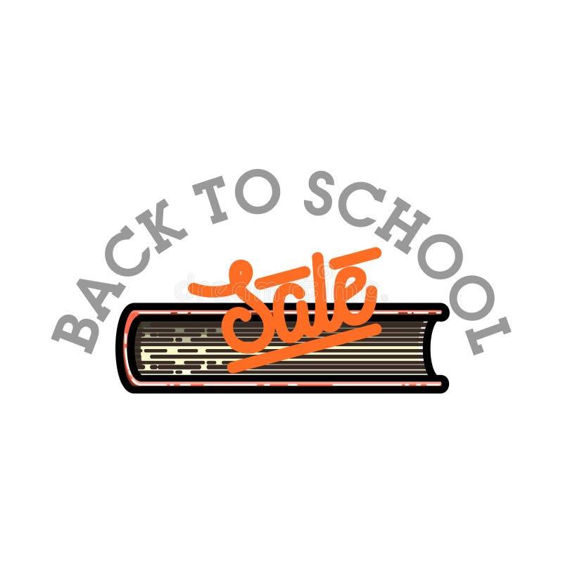 Kleurenwijnoogst terug naar het embleem van de schoolverkoop royalty-vrije illustratie