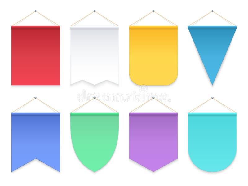 Kleurenwimpel Driehoeks hangende banners en vlaggen Van het teamwimpels van de stoffenvoetbal het vectormalplaatje vector illustratie