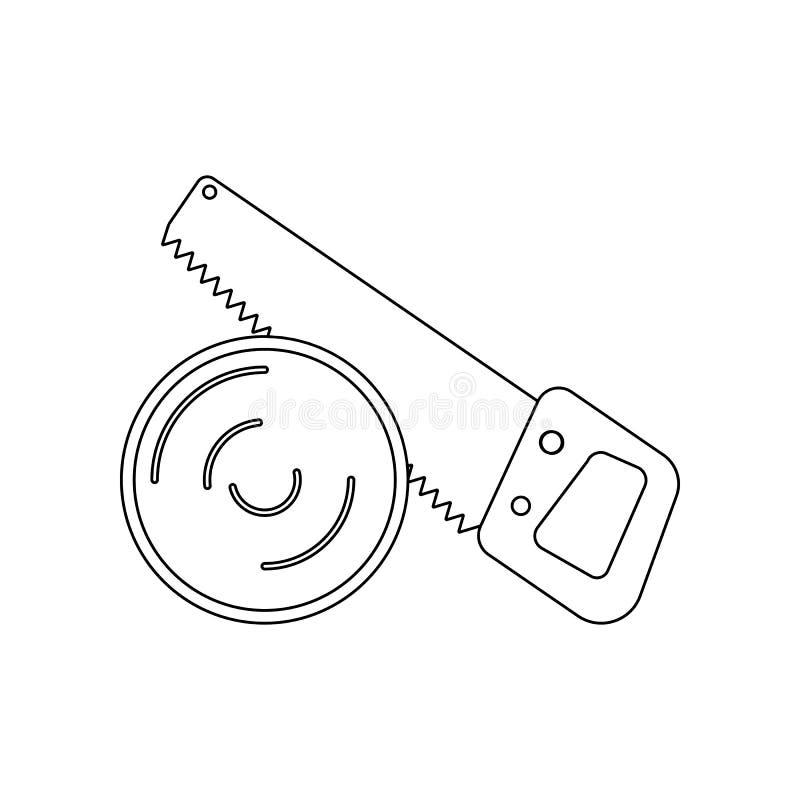 kleurenzaag en logboekpictogram Element van bouwhulpmiddelen voor mobiel concept en webtoepassingenpictogram Overzicht, dun lijnp royalty-vrije illustratie