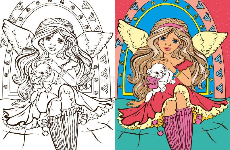 Kleuringsboek van Angel Girl With Cat stock illustratie