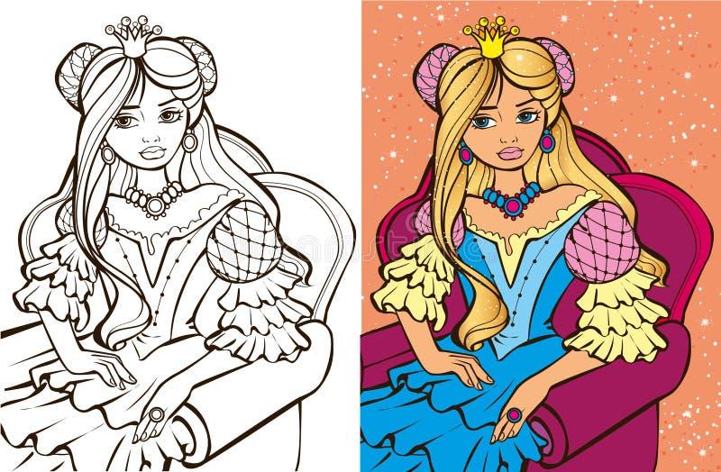 Kleuringsboek van Blondeprinses stock illustratie