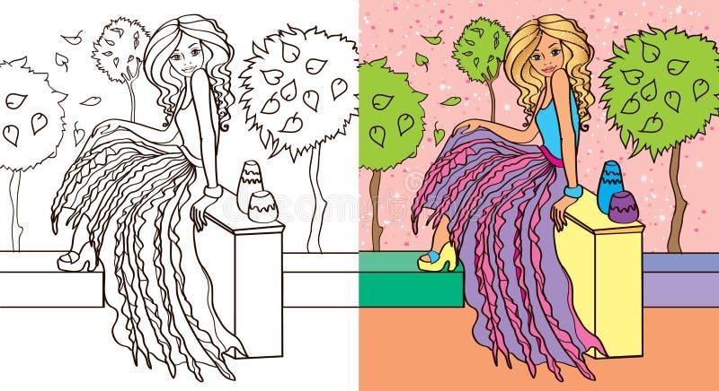 Kleuringsboek van Meisje in Rok royalty-vrije illustratie