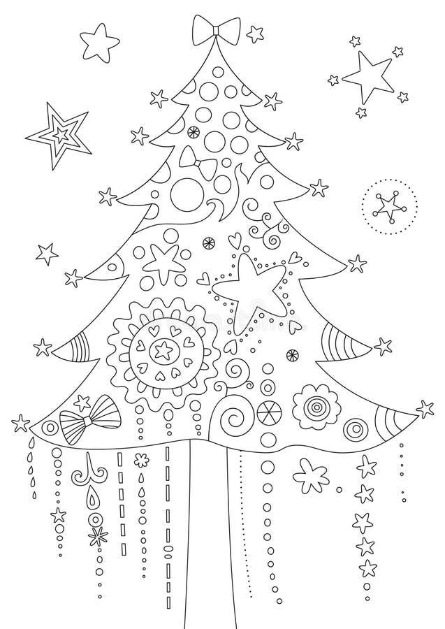 Kleuringspagina met Kerstboom royalty-vrije illustratie