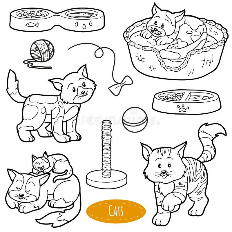 Kleurloze reeks leuke huisdieren en voorwerpen, vectorkatten stock illustratie